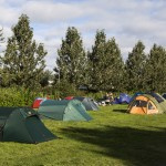 Reykjavik Campsite in Laugardalur. Green valley in Reykjavik city